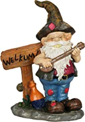 "Exhart Redneck Gnome with Welkum Sign Garden Statue, Resin, 9"" L x 5"" W x 11"" H"