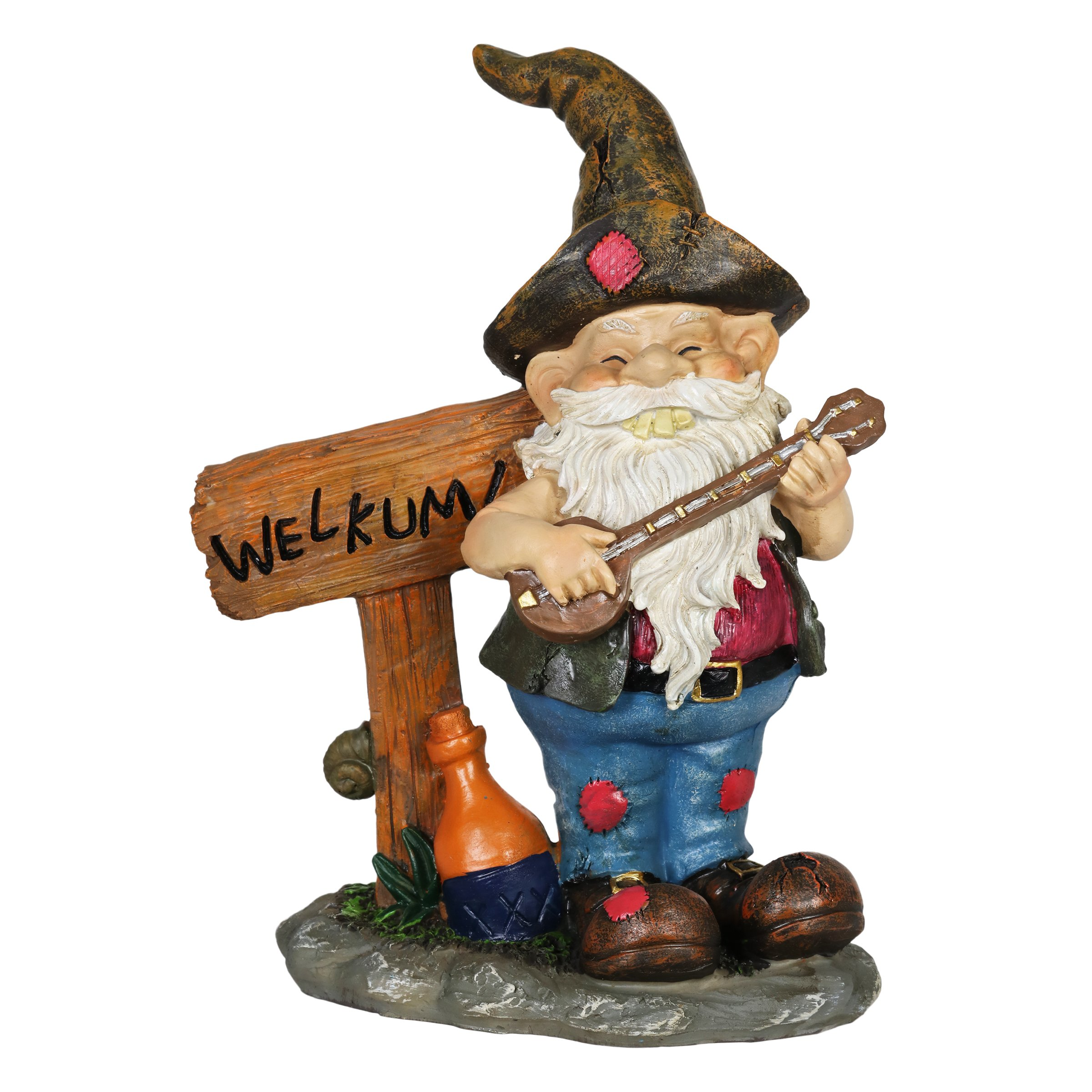Funny Garden Gnomes: Funny Cute Welcome Classic Garden Gnome With Guitar
