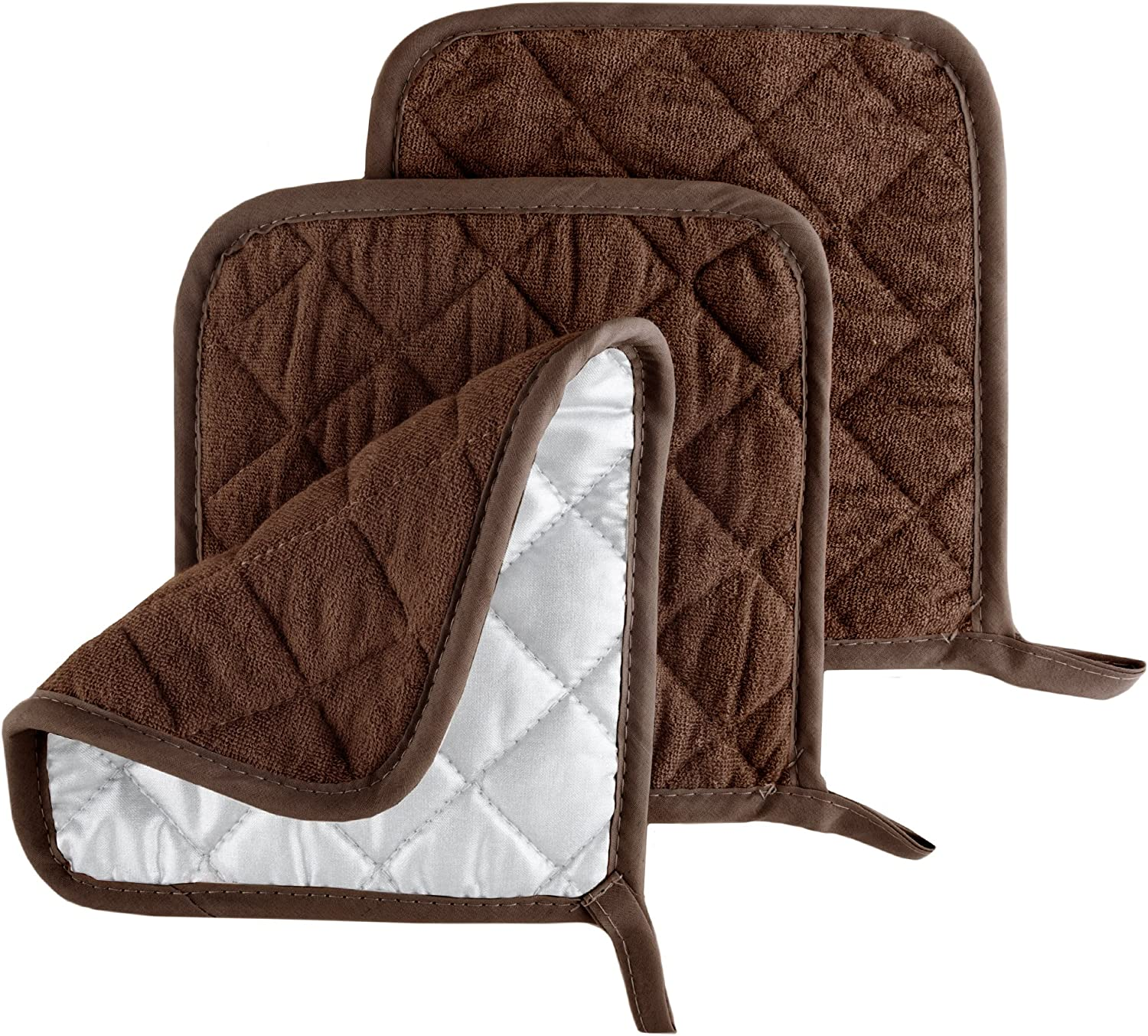 Pot Holder Set, 3 Piece Set Of Heat Resistant Quilted Cotton Pot Holders By Lavish Home (Chocolate)