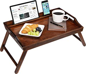 LapGear Media Bed Tray with Phone Holder - Fits Up to 17.3 Inch Laptops and Most Tablets - Brown Bamboo - Style No. 78112