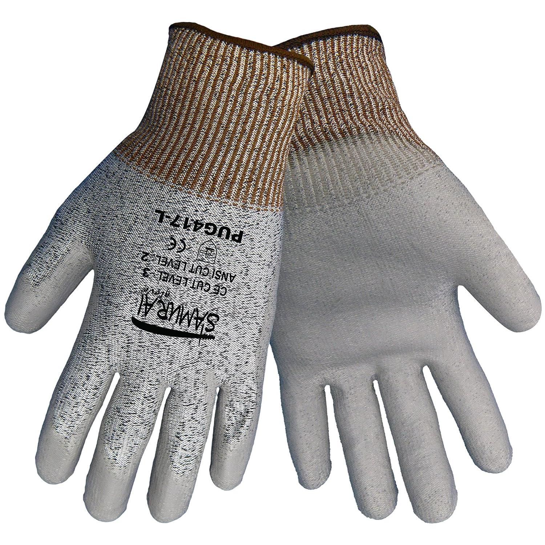 Global Glove PUG417 Samurai Polyurethane/HDPE Glove, Cut Resistance, Large, Gray (Case of 72) by Global Glove B00AIYRDAS