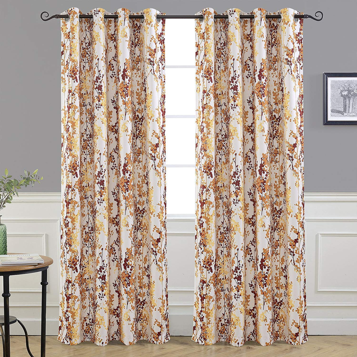 "DriftAway Leah Abstract Floral Blossom Ink Painting Room Darkening/Thermal Insulated Grommet Unlined Window Curtains, Set of Two Panels, Each Size 52""x84"" (Red/Rust/Orange/Gold/Yellow)"