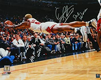 Dennis Rodman Signed Chicago Bulls Diving For Basketball 16x20 ...