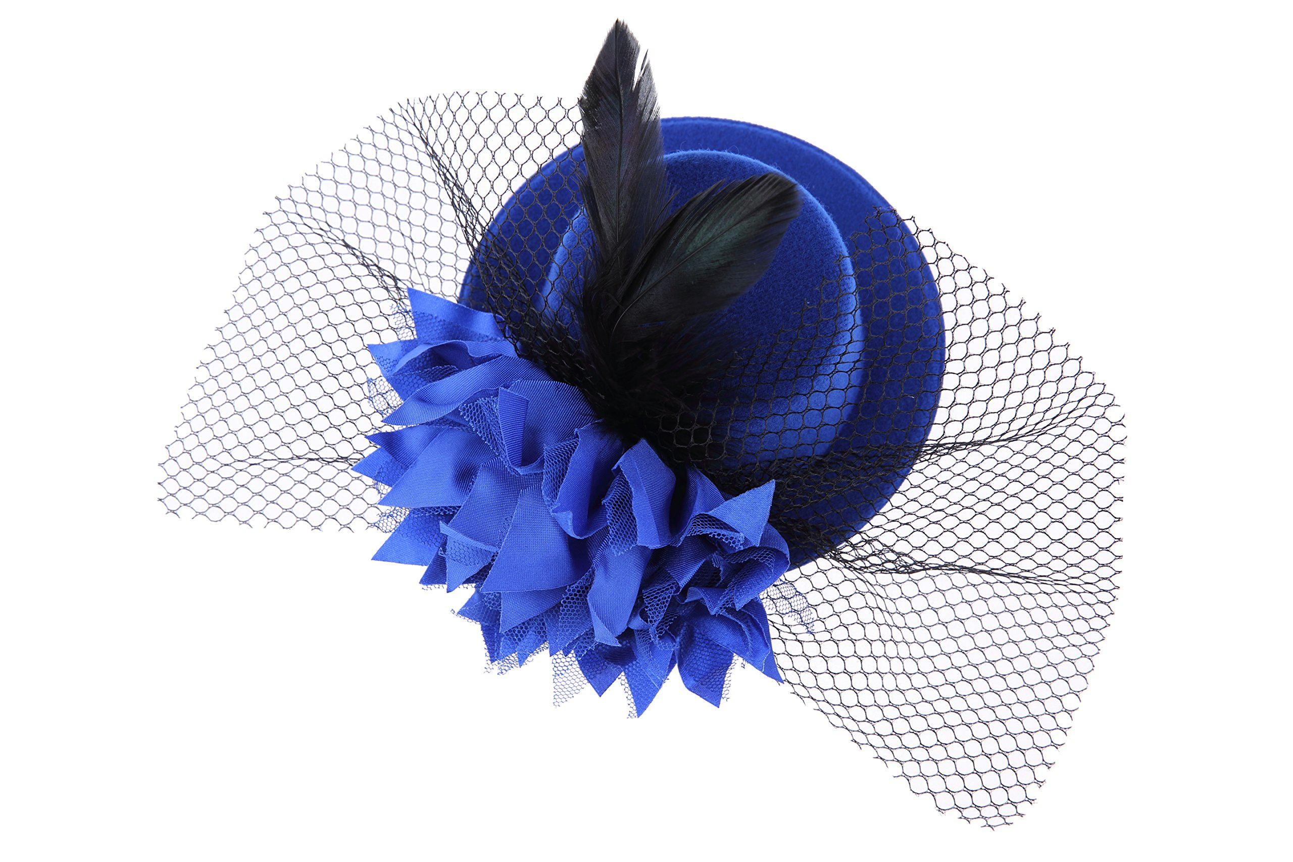 VGLOOK Womens Flower Fascinator Wedding Party Pillbox Derby Mini Top Hat (Blue)
