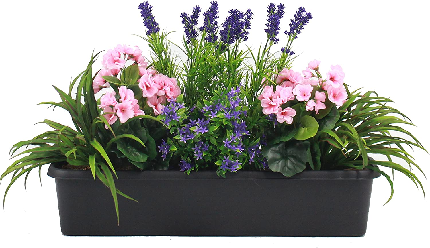 Artificial Mixed Flower Window Box Trough Container With Yucca Geraniums Starflower And Lavender Outdoor And Indoor Use Colourful And Realistic Amazon Co Uk Garden Outdoors