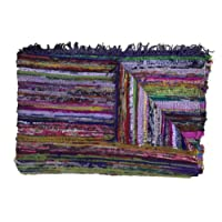 Fair Trade Handmade Rag Rug Chindi Rug Multi Colored Indian Mat Recycled Rug Boho Decorative Rug(5ftx3ft)