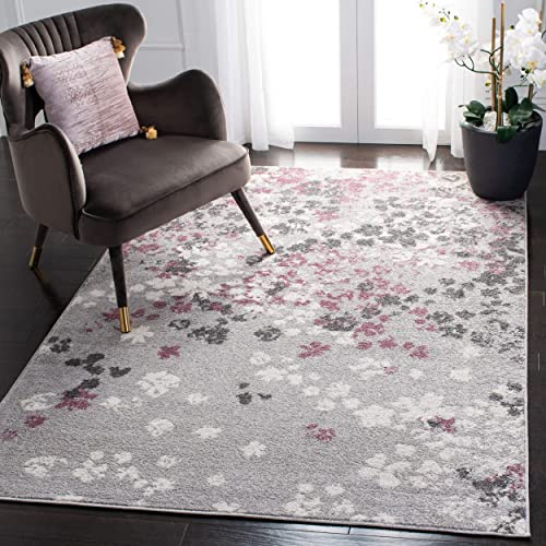 Safavieh Adirondack Collection ADR115M Light Grey and Purple Contemporary Floral Area Rug 3 x 5