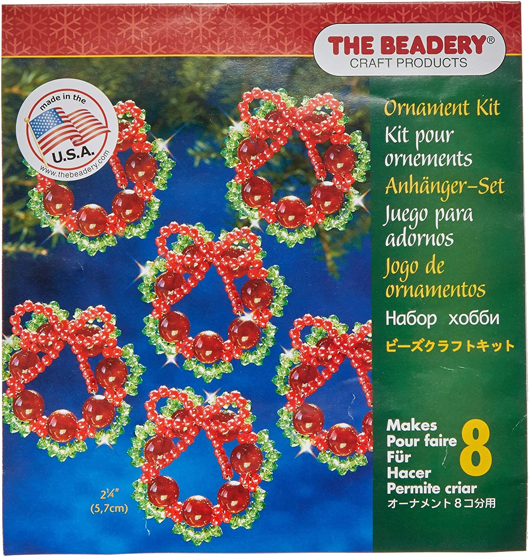 "Holiday Beaded Ornament Kit HOLIDAY WREATHS Christmas Ornaments 2.25/"" Makes 16"