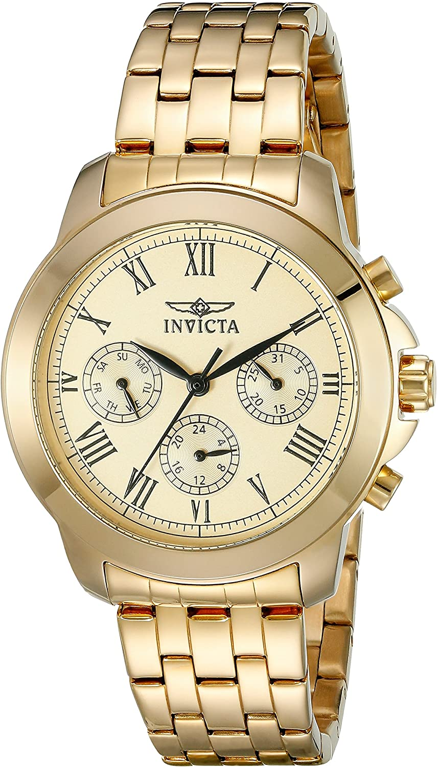 Invicta Women s 21654 Specialty Analog Display Swiss Quartz Gold-Plated Watch