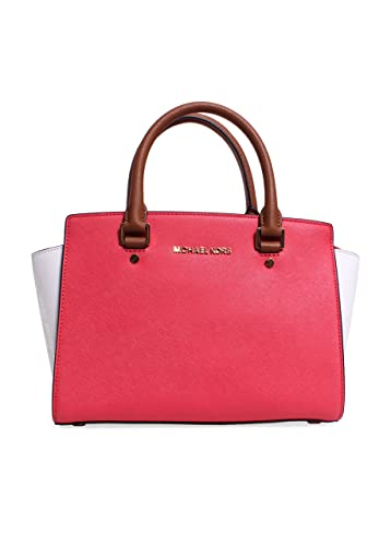 1e1a107a54fb54 Amazon.com: Michael Kors Selma Medium Top Zip Satchel in Watermelon/White/Luggage:  Shoes
