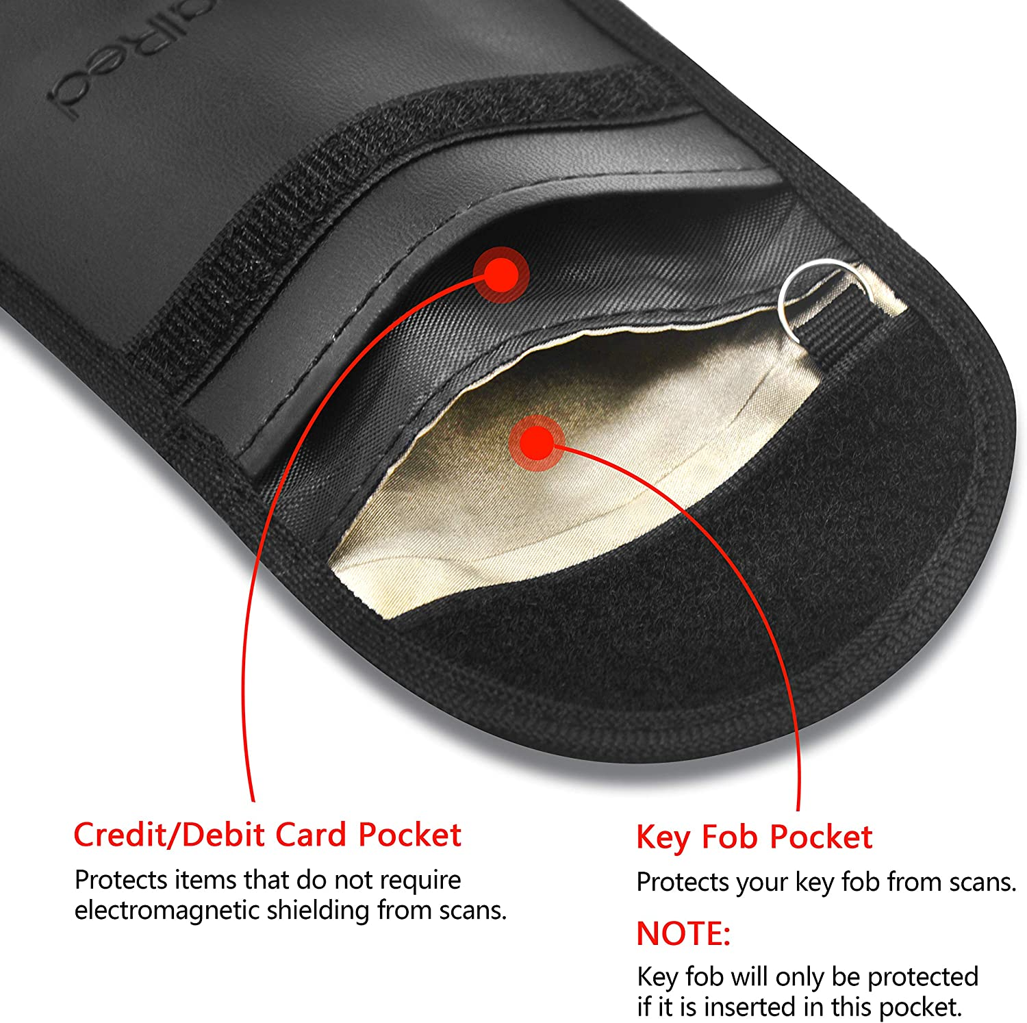 2 Pack Signal Red RFID Key Fob Protector and RFID Credit Card Holder