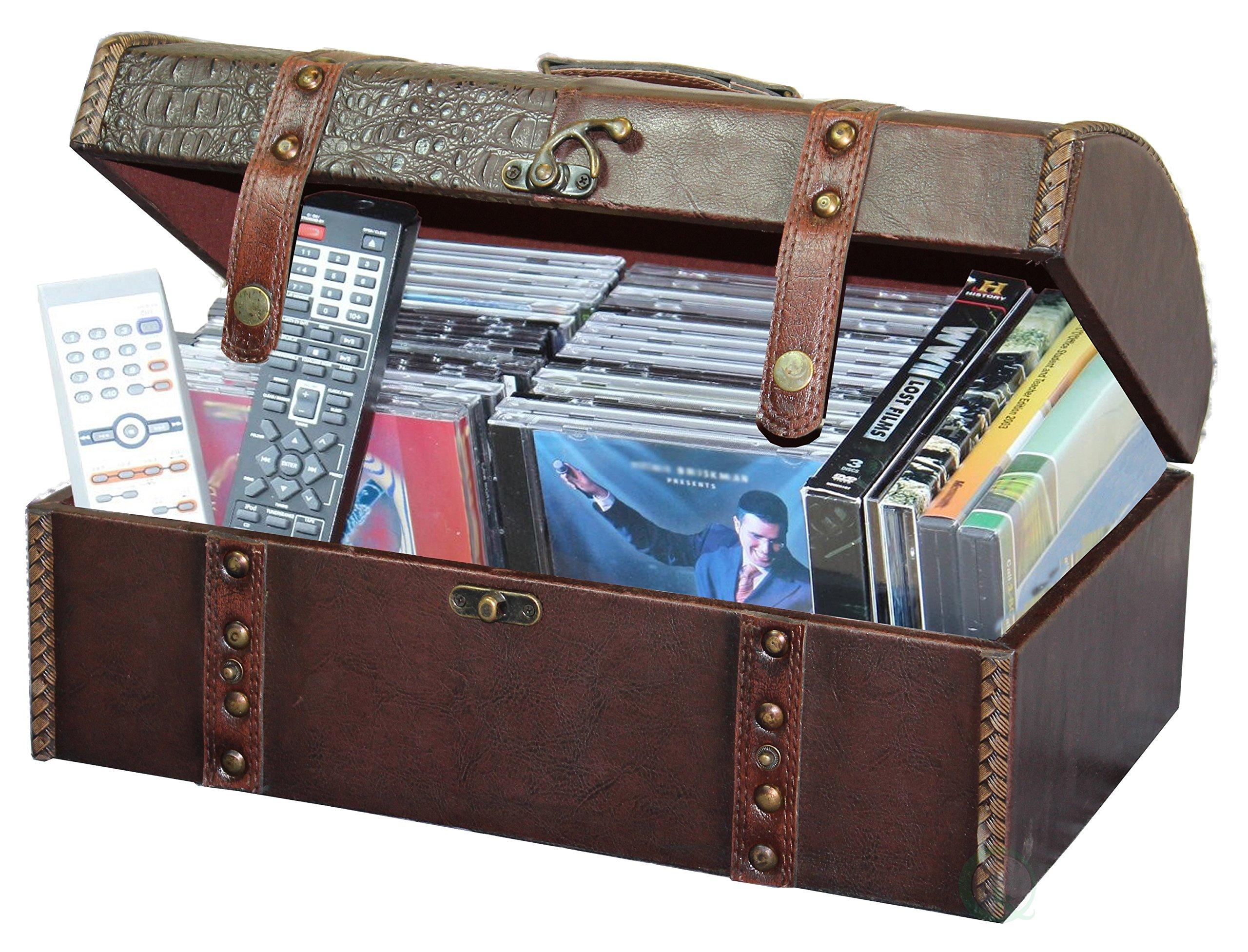Vintiquewise Media Storage Faux Leather Chest Remote Control, DVD Organizer
