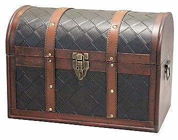 Amazon.com: vintiquewise (TM) Piel de madera cofre del ...