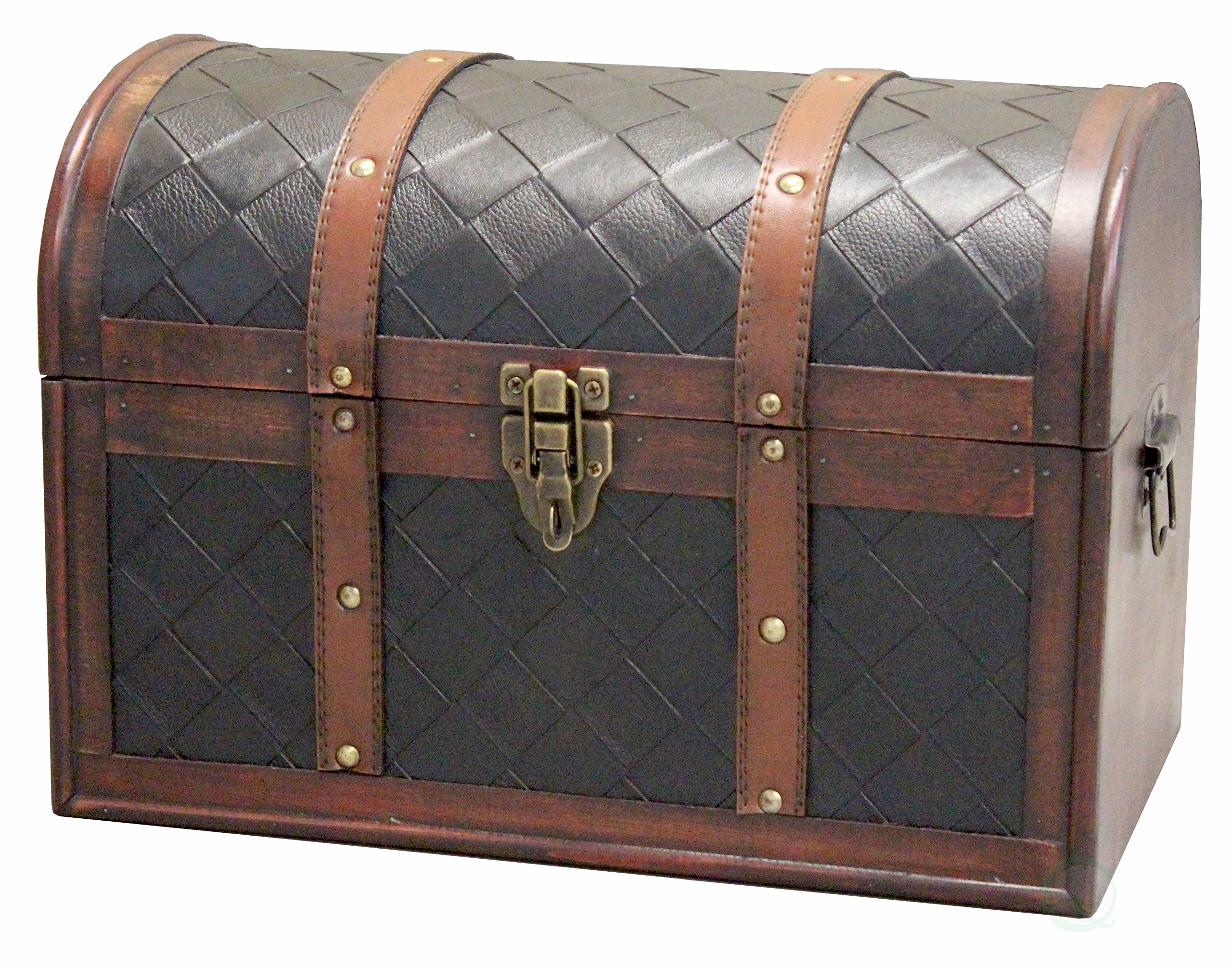 Vintiquewise(TM Wooden Leather Treasure Chest