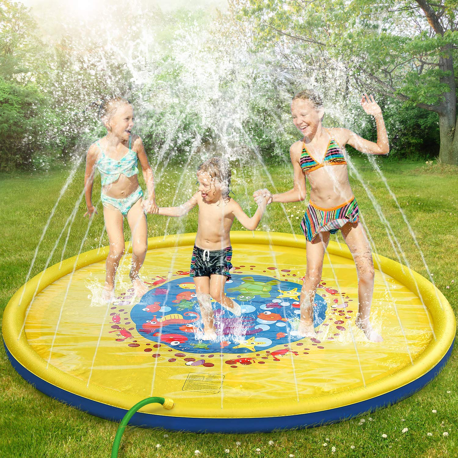 Splash Pad, 69 Inches No More Burst Sprinkle and Splash Play Mat Sprinkler for Kids Boys Girls Fun Splash Play Mat Summer Outdoor Sprinkler Pad Party Water Toys Extra Large Children's Sprinkler Pool by tomser