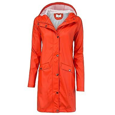 Ichi 20102965, Chaqueta Impermeable Para Mujer, Naranja ...