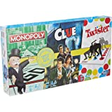 Hasbro Gaming E9495 Family Gaming Triple Play Pack, 3-Pack Includes Monopoly, Clue, and Twister Games, 3 Classic Games…