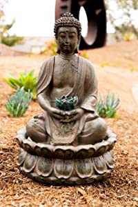 Alpine Corporation Meditating Buddha with Lotus Flower Fountain with LED Light - Outdoor Decor for Garden, Patio, Deck, Porch - Yard Art Decoration