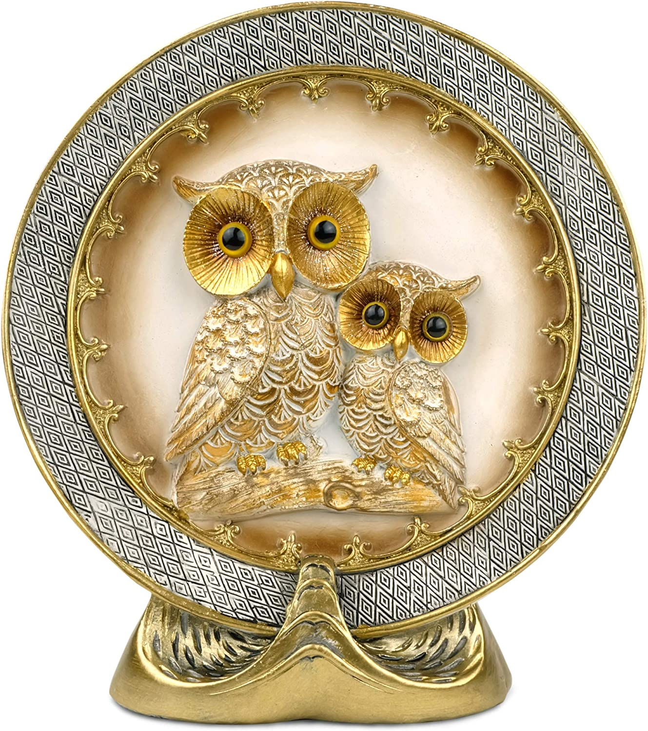 Garwor Home Décor Owl Embossed Decorative Plate with Stand, Elegant Classic Home Décor Plate, Owl Bird Rustic Decorate Plate Kitchen Shelf Displaying