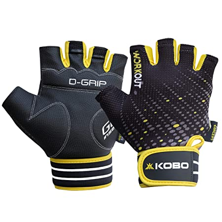 Kobo WTG 33 Gym Gloves for Weight Lifting Exercise  amp; Fitness with Gel Insert Grip and Wrist Support