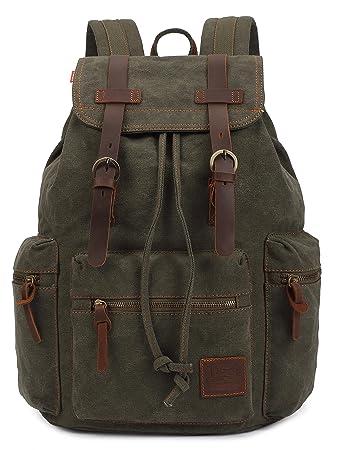 Amazon.com : KINGLAKE Vintage Unisex Canvas Leather Backpack ...