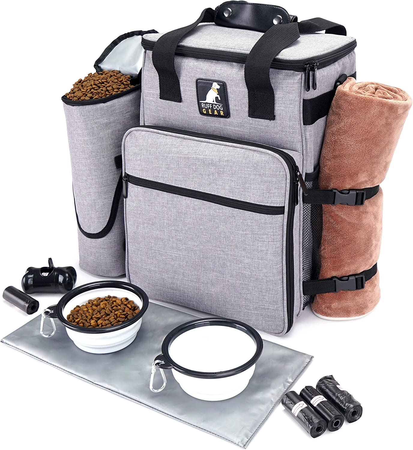Ruff Dog Travel Bag for Supplies - Airline Approved Pet Travel Bag for Dog Accessories with 2 Collapsible Bowls, Food Container, Placemat, Poop Bags & Dispenser - Ideal Dogs Weekend Organizer (Grey)