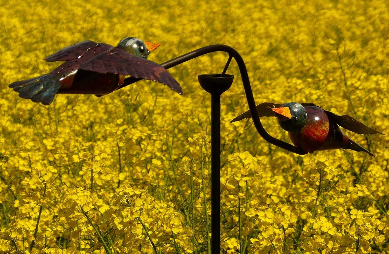 Windspiel Gartenpendel Gartenstecker verliebte blaue Vögelchen beim Liebestanz ❤