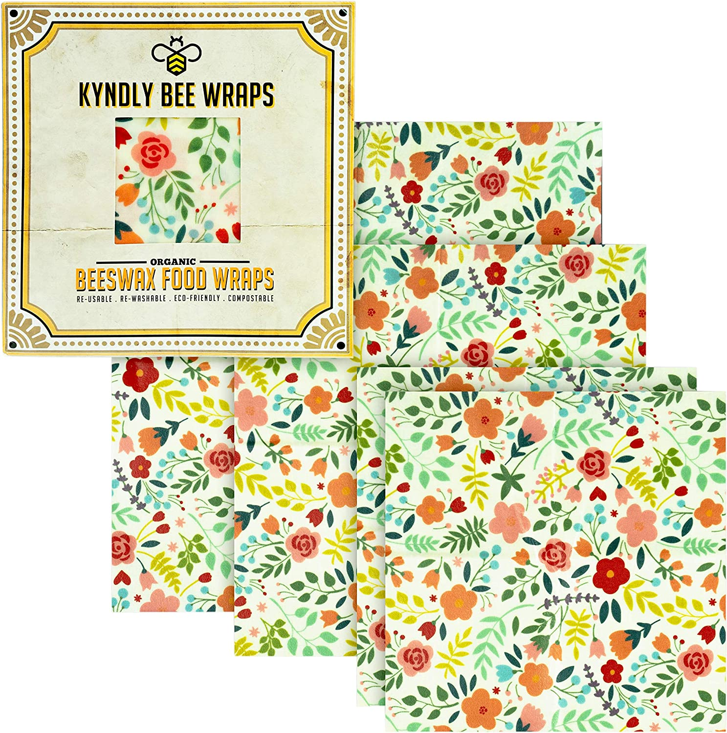 KYNDLY Beeswax Food Wrap, 4 Pack Eco-Friendly Reusable Wrappers. 100% Organic Cotton, Non Toxic, All Natural Food Grade Storage. Sustainable, Compostable and Biodegradable. 2xS 1xM 1xL (CLASSIC)