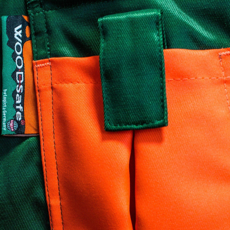 Latzhose gr/ün//orange Herren Gr/ö/ße 60 Forsthose WOODSafe/® leichtes Gewicht Schnittschutzhose Klasse 1 kwf-gepr/üft Waldarbeiterhose mit Schnittschutz Form A