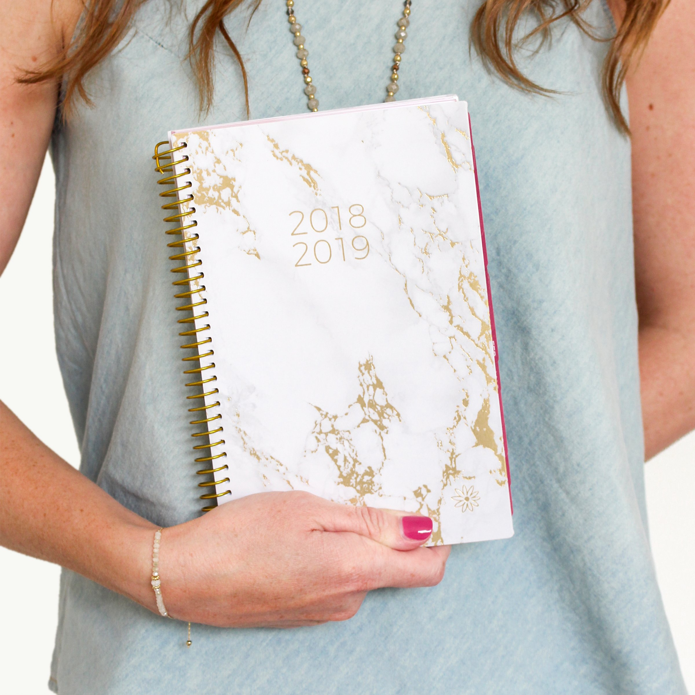 bloom daily planners 2018-2019 Academic Year Day Planner - Monthly and Weekly Calendar Book - Inspirational Dated Agenda Organizer - (August 2018 - July 2019) - 6'' x 8.25'' - Marble by bloom daily planners (Image #2)