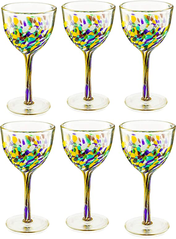 STEMLESS WINE GLASS CONFETTI BLK /& WHITE SPECKLED-HAND BLOWN GLASS By Tag 16oz