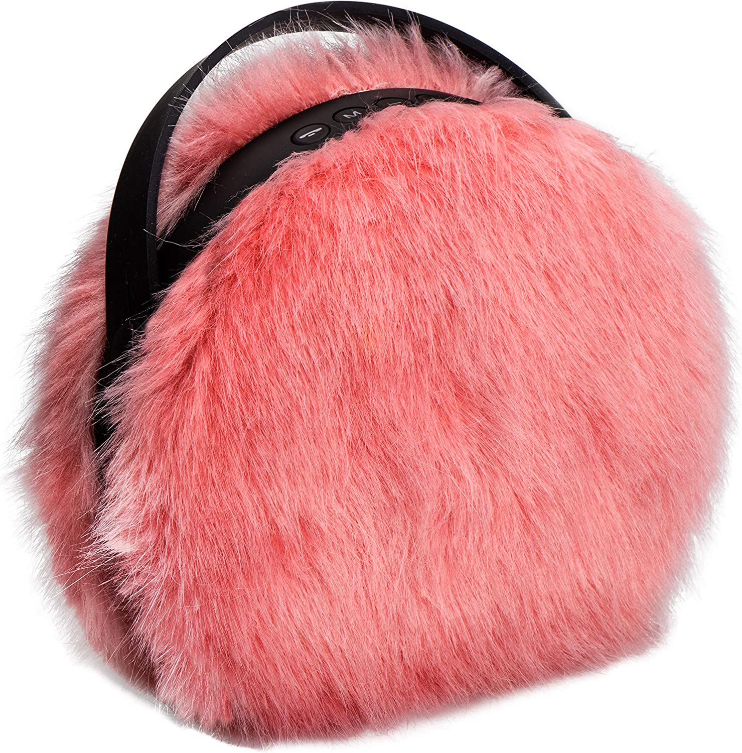 Small and Portable Cute Rechargeable Furry Pink Wireless Bluetooth Speaker Nomodo