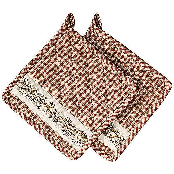2 pc Farm house CREAM RED Plaid Pot Holder Oven Mitt Kitchen Set FARMHOUSE