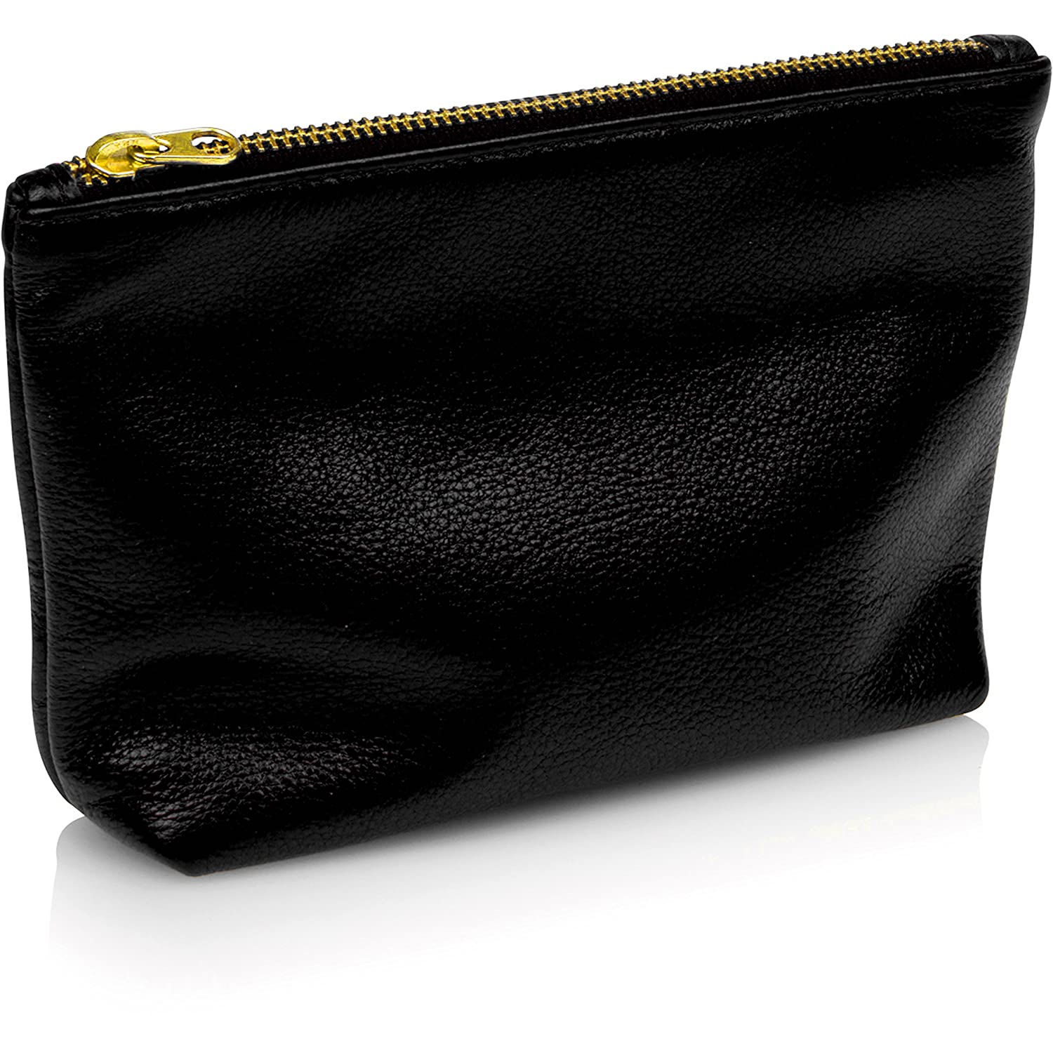 Leah Lerner Women Small Leather Clutch Cosmetic Pouch