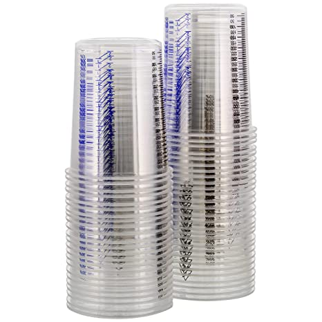 Tcp Global 20 Ounce 600cc Disposable Graduated Clear Plastic Cups For Mixing Paint Stain Epoxy Resin Box Of 50
