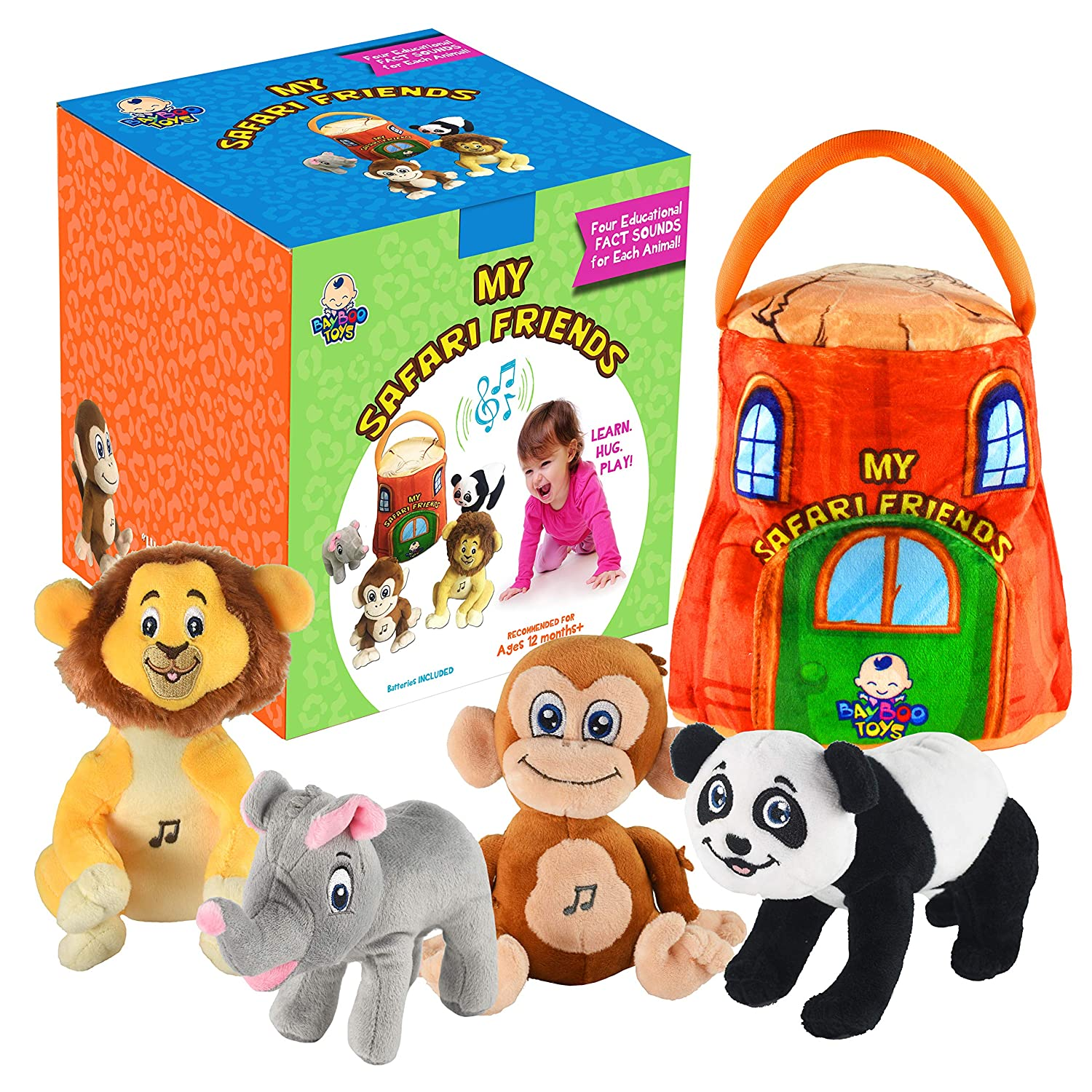 gift for 1 year old EDUCATIONAL Plush Toy Talking Animal Set, Stuffed Animals, Elephant Monkey Lion & Panda Baby Toddler Toys, FEATURING 4 ADORABLE AUDIOS for ALL 4 Toys, REAL SOUNDS and 4 FUN FACTS!
