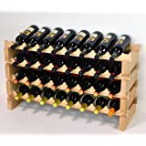 Modular Wine Rack Pine Wood 32-96 Bottle Capacity Storage 8 Bottles Across up to 12 Rows Stackable Newest Improved Model (32 Bottles - 4 Rows)