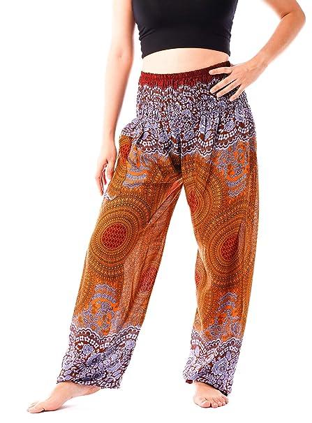 Amazon.com: noonew Mujer Smocked cintura pantalones de yoga ...