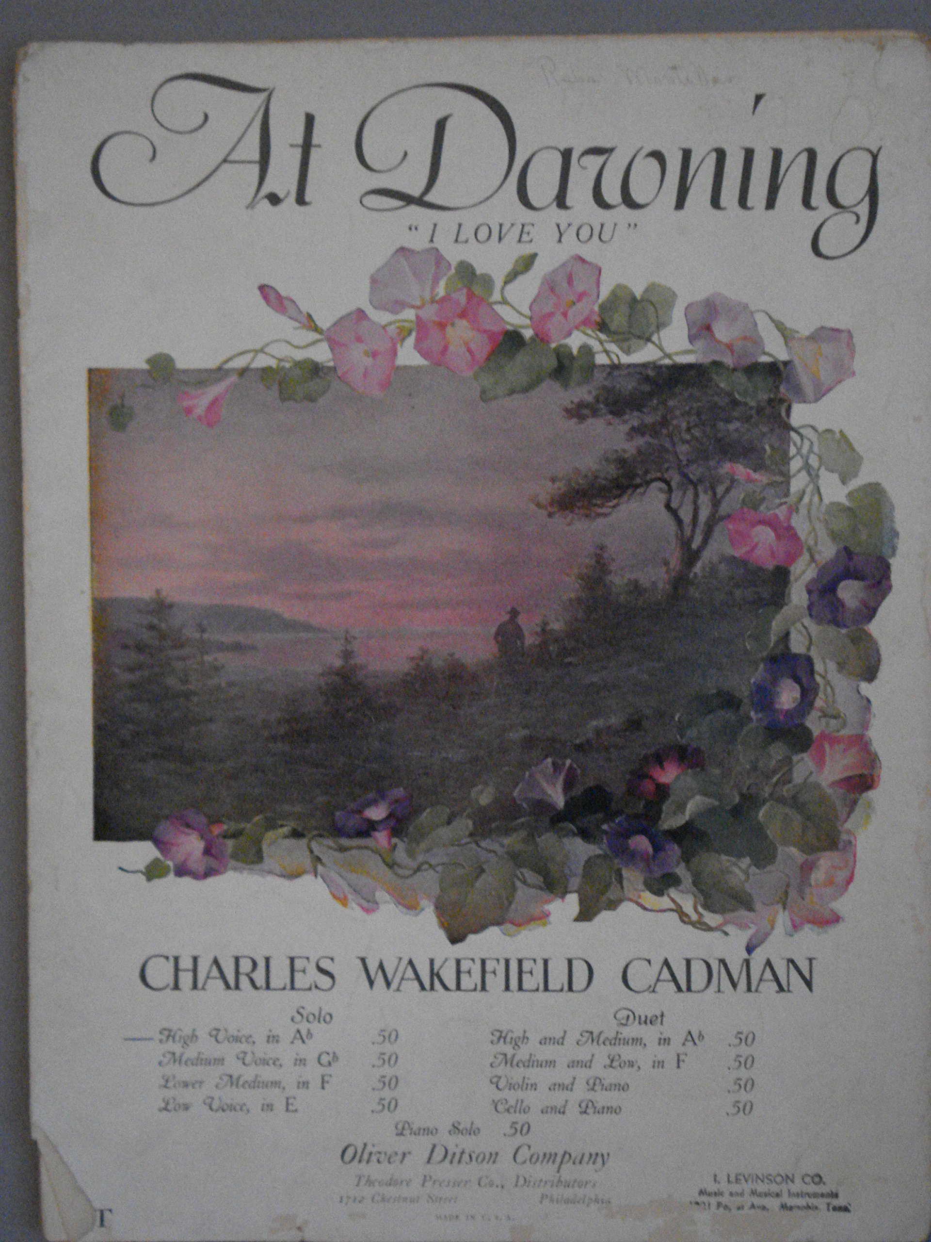 Vintage Sheet Music AT DAWNING I LOVE YOU CHARLES WAKEFIELD CADMAN