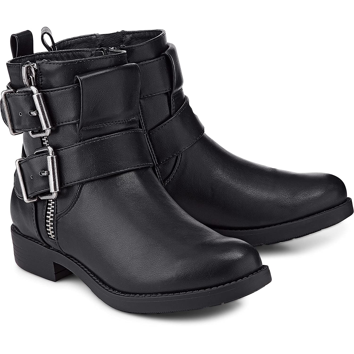 Another A Damen Damen Biker Boots, Stiefeletten in Schwarzer Leder-Optik mit Schnallen-Applikationen Schwarz Synthetik 40