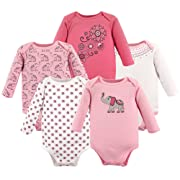 Hudson Baby Baby Long Sleeve Bodysuits, Boho Elephant 5Pk, 9-12 Months (12M)