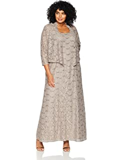 181b1757f4a Alex Evenings Women s Plus-Size Long A-line Scoop Neck Dress with Jacket  Special