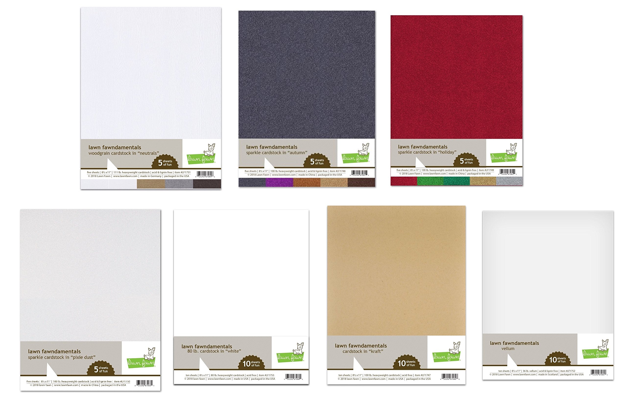 Lawn Fawn a Taste of Paper Collections - Bundle of 50 Sheets of Various Acid/Lignin Free Papers Including Woodgrain Cardstock, Glitter in Many Colors, White Cardstock, Kraft Cardstock and Vellum