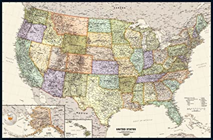 Map Shops United States Wall Art Poster, 36 x 54. Great Geography Gift For  American History Buffs. Classic, Incredibly Detailed Poster is Beautifully  ...
