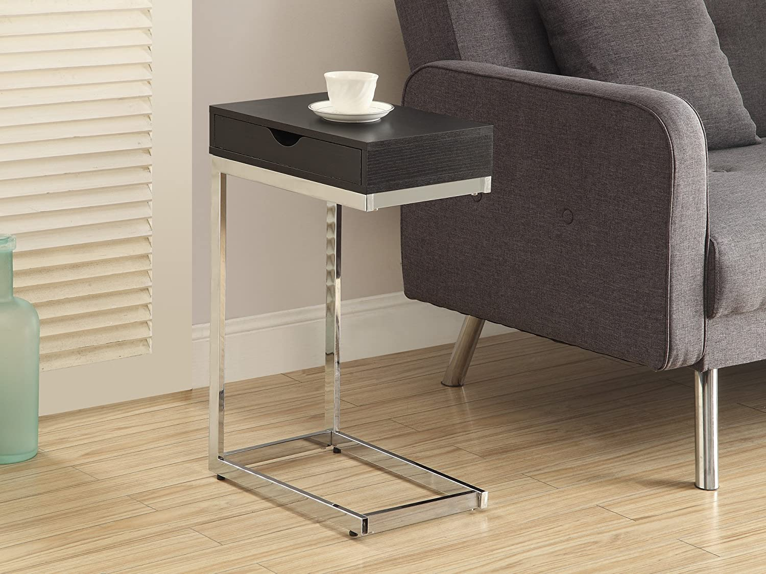 Amazon.com: Monarch Metal Accent Table With A Drawer, Cappuccino/Chrome:  Kitchen U0026 Dining