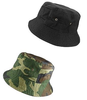 edd3685649f799 Gelante 100% Cotton Packable Fishing Hunting Sunmmer Travel Bucket Cap Hat  1900-Black/