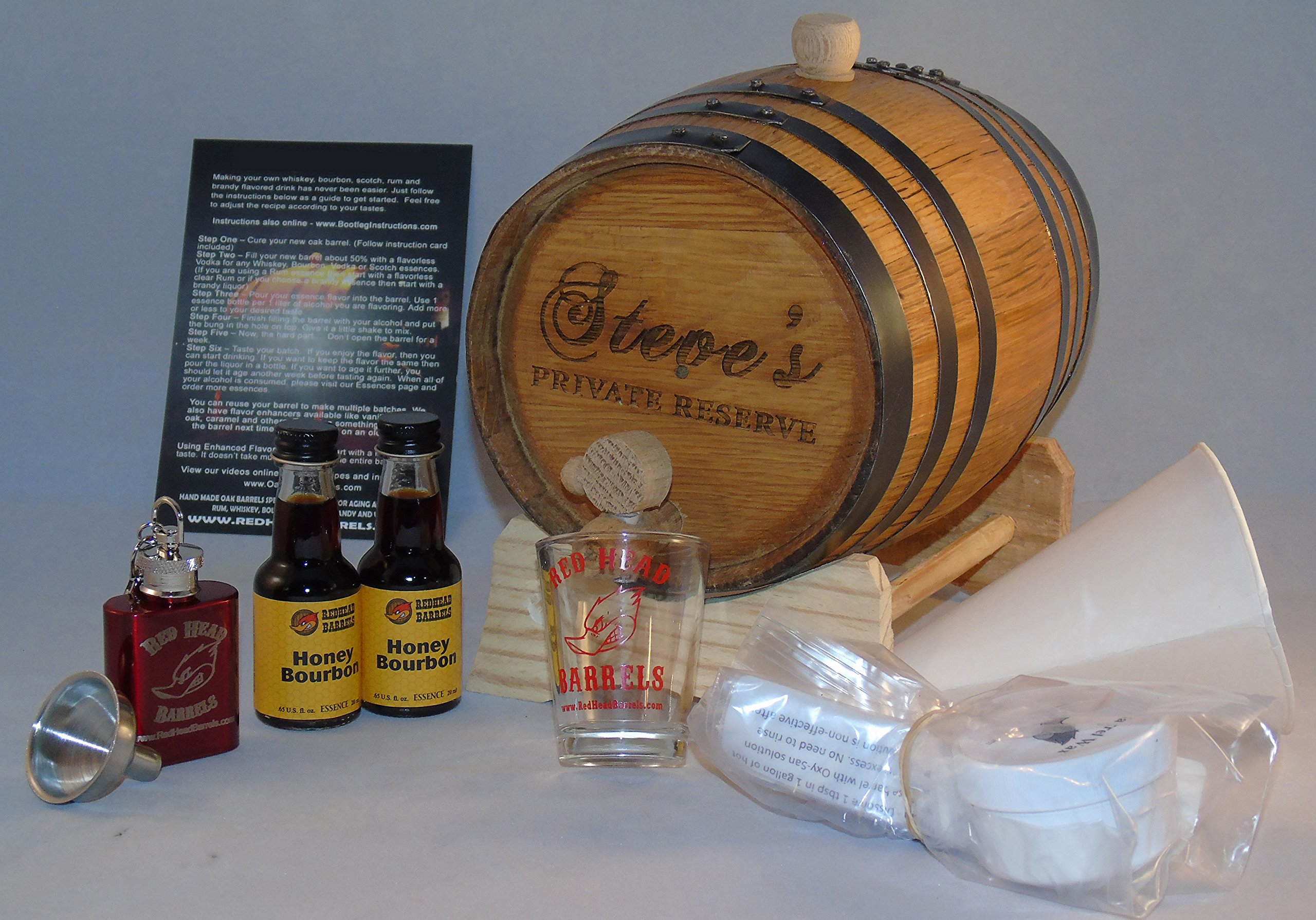 Red Head Barrels 2 Liter Custom Engraved American White Oak Flavoring Gift Set (Honey Bourbon)