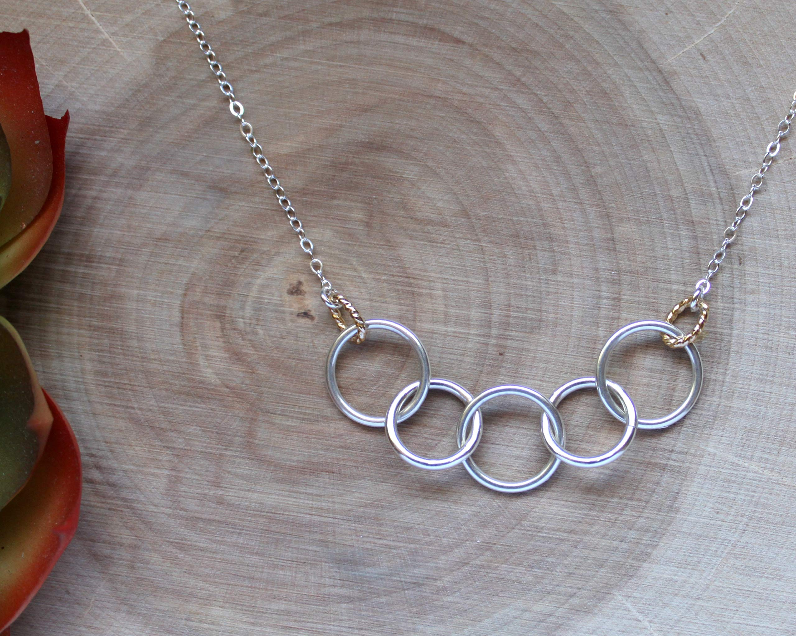 Efy Tal Jewelry Happy 50th Birthday Gifts for Women Necklace, Sterling Silver 5 Rings Five Decades Necklaces Gift Ideas by Efy Tal Jewelry (Image #3)