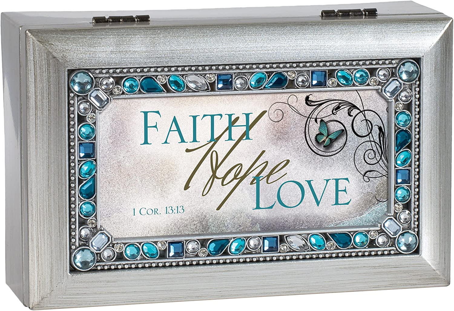 Cottage Garden Faith Hope Love Rushed Silvertone Jewelry Music Box Plays How Great Thou Art