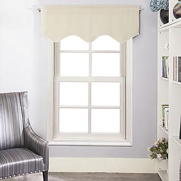 Window Treatments Valance   Aquazolax Rod Pocket Top Scalloped Valance  Drapes For Bedroom Windows, 52u0026quot